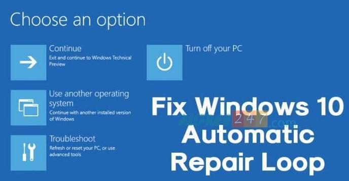 sua loi preparing automatic repair windows 10 banner